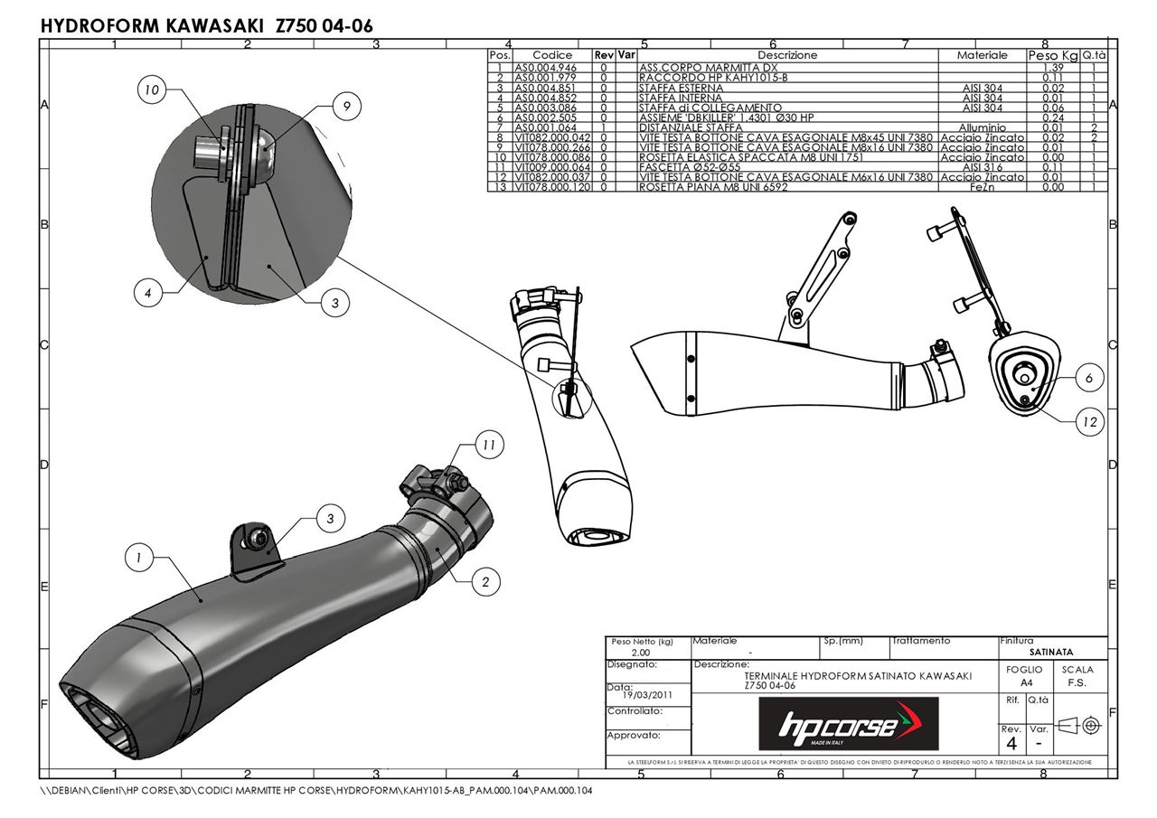 Hp Corse Terminale Hydroform Satinato Kawasaki Z750 04 06 Rev4 Schematic Drawing Rev 4 Picture Of