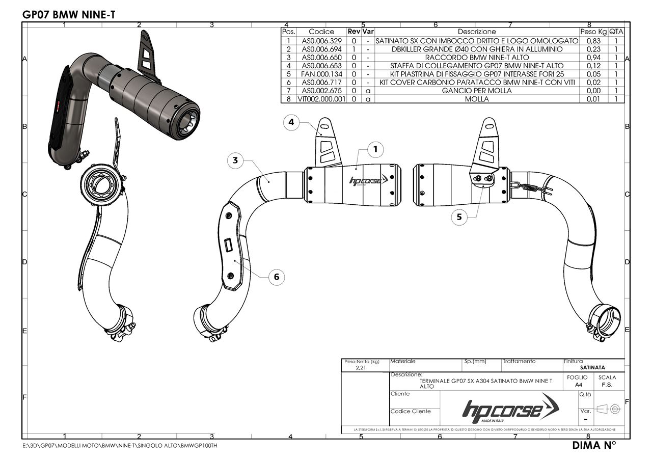 Picture of SILENCER GP07 SX A304 SATIN BMW NINE T HIGH POSITION