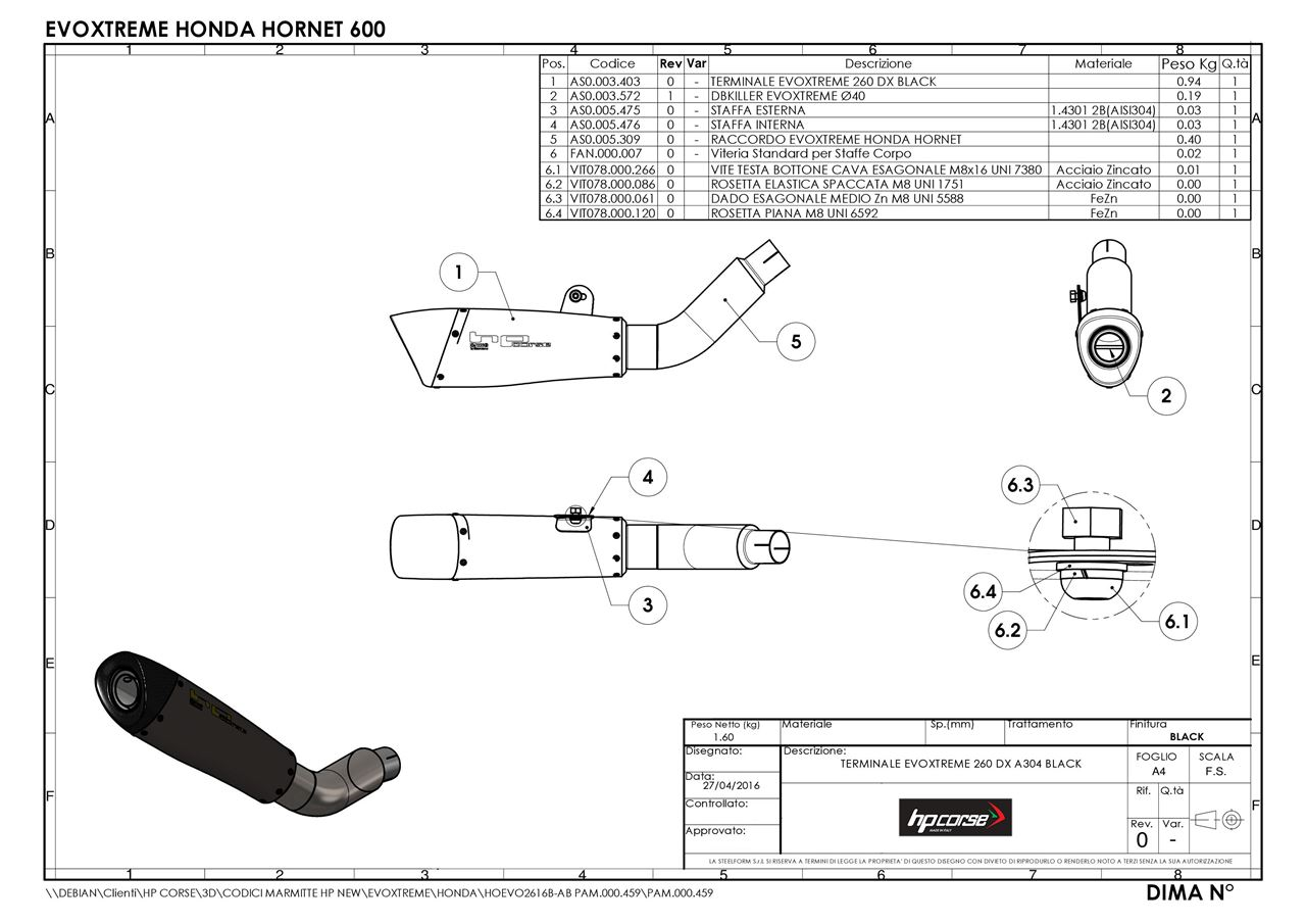 Picture of TERMINALE EVOXTREME 260 DX A304 SATINATO HONDA HORNET 600